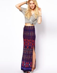 ASOS | ASOS Maxi Skirt in Aztec Print   Perfect for summer holidays