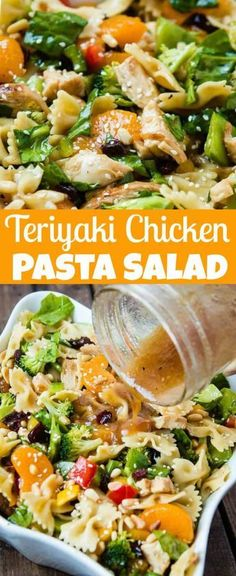 Pasta Salad is a great Summer Dish! This Teriyaki Chicken Pasta has veggies, man… Pasta Salad is a great Summer Dish! This Teriyaki Chicken Pasta has veggies, mandarin oranges and a homemade sesame dressing. It's delicious and packed full of veggies! Teriyaki Chicken Salad, Chicken Pasta Salad Recipes, Salad Chicken, Basil Chicken, Teriyaki Salad Dressing Recipe, Chicken Dressing, Asian Pasta Salads, Veggie Pasta Salads, Summer Pasta Salad