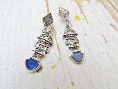 Vintage Sterling Silver Earrings / Lapis Lazuli Aztec by LUXXOR, $78.00