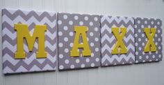 Nursery Decor, Upholstered Letters, Nursery Letters, Wooden Letters, Personalized, Nursery Art, Gray and White Chevron, Yellow Letter via Etsy