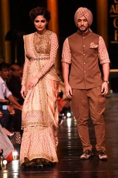 Lakme Fashion Week Sabysachi brown pink sari and kurta