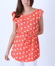 Coral Daisy Ruffle-Sleeve Tunic by Collective Rack #zulily #zulilyfinds