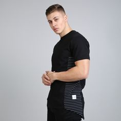 Hard Graft Panel Longline T-shirt - Black / Navy  // Click the link to buy or for more info - https://www.king-apparel.com/new-collection/t-shirts/hard-graft-panel-longline-t-shirt-black-navy.html