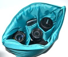 Camera Bag DSLR, in turquoise blue water resistant fabric, foam padded slr Purse Insert also for your backpack, diaper bag, by Darby Mack
