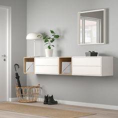 EKET Wall-mounted cabinet combination - white/white stained oak effect - IKEA Innenarchitektur-Ideen