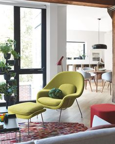 "Design Within Reach on Instagram: ""Bold move! Striking in chartreuse, the standout Womb Chair has organic contours that offer countless ways to lounge. @nanimarquina_official…"""