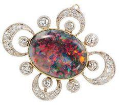 1910 Edwardian Black opal brooch.