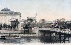 Yodoyabashi bridge, Osaka. The building on the left is the Osaka branch of the Bank of Japan, located on Nakanoshima island. It was designed by Tokyo University Professor Tatsuno Kingo, and completed in January 1903.    What makes this postcard especially interesting is the arch in the back.