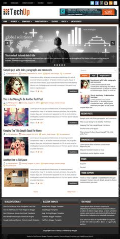 TechUp is a 2 Columns, Responsive Blogger Template for Tech Blogs. TechUp Blogger Template has a Featured Post Slider, 2 Dropdown Menus, Header Banner, Related Posts, Breadcrumb, Google Fonts, Social and Share Buttons, Right Sidebar, 3 Columns Footer, Tabbed Widget and More Features.  http://www.premiumbloggertemplates.com/techup-blogger-template/
