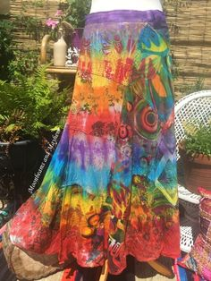 ♥ ~ Divine Bohemian Tie Dye Skirt Available from 'Moonbeams and Mayhem' . http://www.ebay.co.uk/itm/122035000825?ssPageName=STRK:MESOX:IT&_trksid=p3984.m1559.l2649 also connect with me at https://moonbeamsandmayhem.com/