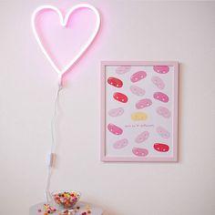 Pastel Girls Room, A Little Lovely Company, Girls Bedroom, Bedroom Ideas, Jelly Beans, Neon Lighting, Family Life, Kids Room, Frame