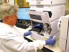 Courtesy of PeaceHealth Laboratories  Peggy Fitzgerald, medical technologist for PeaceHealth Laboratories in Springfield, Ore., analyzes a sample for the medical group's newly patented drug test, Patient Protect. The new test is used to determine prescription drug misuse and abuse.