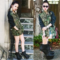 Urban Outfitters Camo Oversized Jacket, H Clear Earring, Charlotte Russe Clear Heel Lace Up Booties