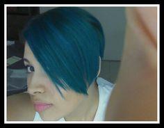 Manic panic Mixed vodoo blue & bad boy blue. Pixie hair
