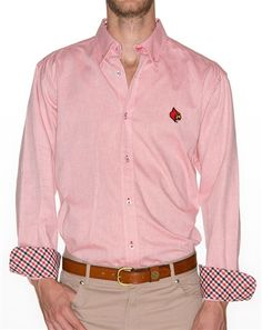 df214b308 This classic Oxford comes with a Pennington & Bailes signature trim and The  University of Louisville Cardinal logo embroidered on the left chest.
