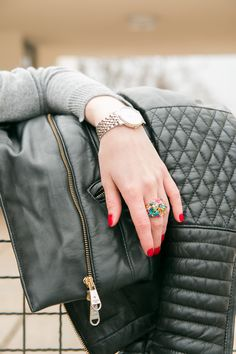 RING, TISSOT, WATCH, RED NAILS