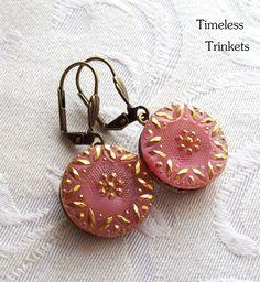 Vintage Glass Button Earrings Victorian Blush by TimelessTrinkets, $16.00