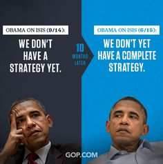 GOP InfoSnap – #PoliticalPropaganda  This graphic is packed with meaning and continues the GOP's mission of showcasing President Obama and Democrats in a negative light.  The photos used here, cast Obama as a disinterested, tired, and confused leader when it comes to ISIS.   The GOP wants viewers to see Obama in a negative light and that he doesn't know what he is doing.  Design is extremely powerful and has a huge impact on what we do and think on a daily basis. Stay informed.