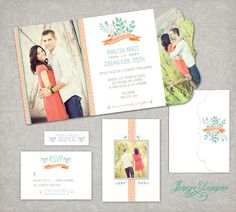 Wedding Invitation - Boutique Tri Folded Design - TEMPLATE ONLY for Photographers and Photoshop Users