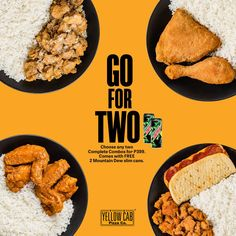 Kick things off with appetizing chicken combos from Yellow Cab's GO for TWO Promo! Anything but bland—this pretty much sums up what you'll be expecting Food Graphic Design, Food Menu Design, Food Poster Design, Design Web, Restaurant Advertising, Food Advertising, Brochure Food, Food Promotion, Food Banner