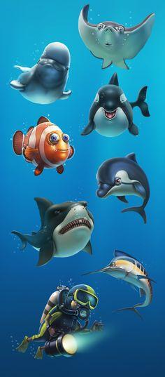 'Sea world' by Ivan Gorda, via Behance Meer Illustration, Drawn Fish, Fishing World, Cartoon Fish, Digital Painting Tutorials, Ocean Creatures, Colorful Fish, Cute Little Animals, Sea World