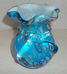 Vintage Murano Italian Turqoise Cased Art Glass Vase Millefiori Nice Piece