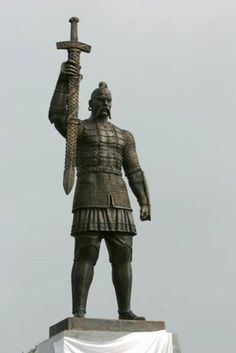 The monument to the Kievan Rus Prince Svyatoslav, who died here in 972 AD in the battle with the Pechenegs. Zaporizhzhya.