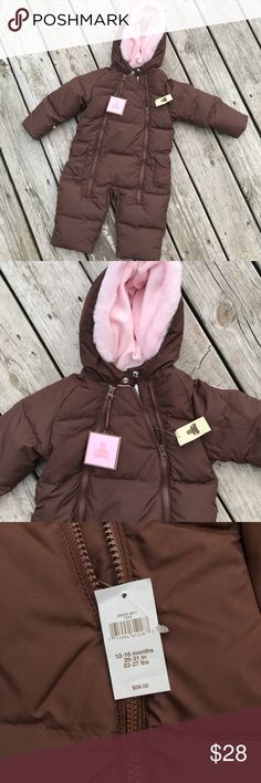 NWT Baby Gap snow suit, size 12-18 mos! Snuggly puffer suit, new with tags!!  Inside is lined with pink fuzzy material, super cute!!! Baby Gap Jackets & Coats