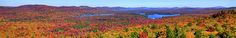 Fulton Chain of Lakes panorama from the top of McCauley Mountain in Old Forge, NY. #Adirondacks #Autumn