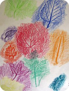Rubbing leaves with crayons I remember making leave rubbing pictures. I thought it was fun. You could go outside and let the children pick one leave or a couple and then rub it on paper with a crayon.