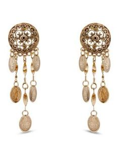 Erica Lyons  Erica Lyons Gold-Tone Coin Chandelier Pierced Earrings