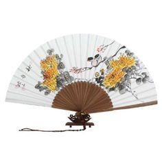Hand Painted Folding Yellow Chrysanthemum Flower Painting Korean Mulberry Rice White Paper Bamboo Art Wooden Asian Oriental Wall Deco Handheld Decorative Fan