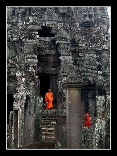 Orange in Grey - Monks in Cambodia