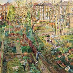 Winter Backgardens, Islington by Melissa Scott-Miller NEAC Down To Earth Cards Urban Landscape, Landscape Art, Landscape Paintings, Landscapes, Fields In Arts, London Painting, Garden Illustration, Cartoon Art Styles, Art Society