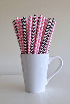 Paper Straws - 25 Bubblegum Pink and Black and White Chevron Party Straws Birthday Wedding Baby Shower Bridal Shower Graduation by PuppyCatCrafts, $3.60