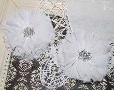 "set of two White Chiffon flowers  2.5"" Shabby Frayed flowers Fabric flowers  hair Flowers Vintage Candace wholeslae flowers"