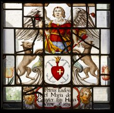 Stained glass windows at the Franciscan convent in Megen, the Netherlands, with the arms of Petrus Endenpoel.