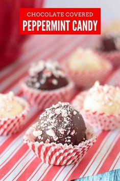 These chocolate-dipped peppermints are one of my favorite Christmas candy recipes. They have a sweet, creamy center center flecked with peppermint. Mini Desserts, Single Serve Desserts, Winter Desserts, Party Desserts, Christmas Desserts, Christmas Candy, Delicious Desserts, Holiday Candy, Sweet Desserts