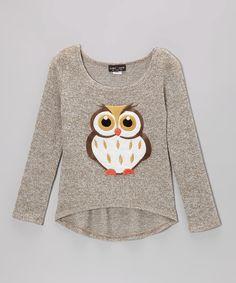 Adorable Brown #Owl Burnout Tee