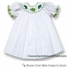 11ff4923c Vive la Fete Girls Smocked Green Shamrocks for St. Patrick's Day on White Dress  Smocking