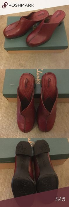"""Clarks Mule/clog shoes - NWOT Excellent condition.  Never worn!  Leather uppers with 2"""" stacked heel Clarks Shoes Mules & Clogs"""