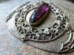 Late Victorian Amethyst Glass Sash Pin
