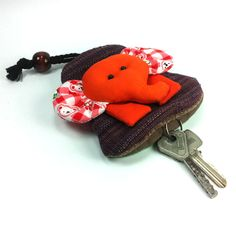 PRETTY MULTI COLOR FABRIC HANDCRAFT ELEPHANT KEY CHAINS KEY COVER CAP