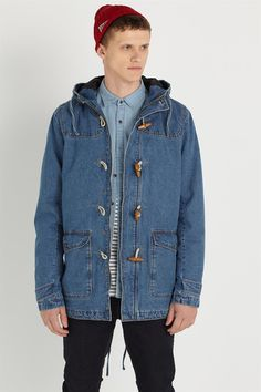 Mens blue denim duffle jacket with toggle buttons, hood and pockets