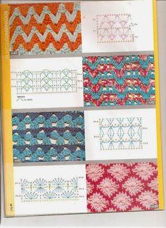 Moda Crochet, Crochet 101, Crochet Motifs, Crochet Needles, Crochet Stitches Patterns, Stitch Patterns, Knitting Patterns, Pattern Mixing, Yarn Crafts