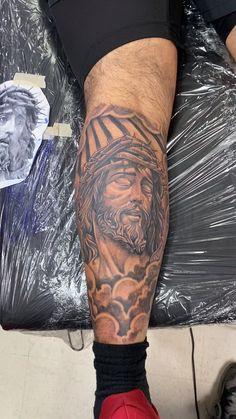 Jesus Christ with Crown of Thorns Jesus Forearm Tattoo, Calf Tattoo Men, Wolf Tattoo Sleeve, Knee Tattoo, Jesus Tattoo, Forearm Sleeve Tattoos, Best Sleeve Tattoos, Biblical Tattoos, Religious Tattoos
