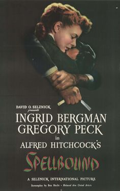 "Movie Poster for Hitchcock's classic ""Spellbound"" with Ingrid Bergman & Gregory Peck - 1945"