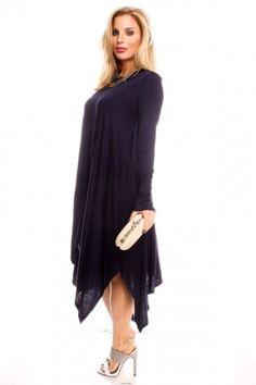 NAVY LONG SLEEVE LONG CAUSAL STRETCHY FLOWY DRESS