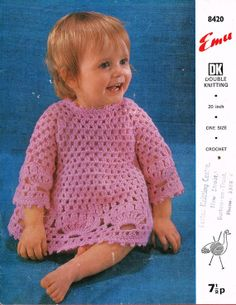 Emu 8420 baby dress vintage crochet pattern PDF by Ellisadine, £1.00