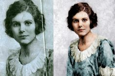 Old portrait restoration with colouring too. I bet they wished they had Photoshop two hundred years ago.